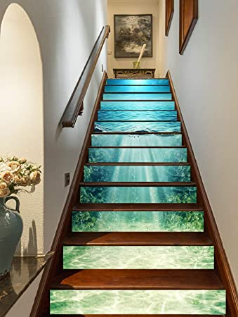 FLFK 3D Oceano azul profundo auto-adhesivos Pegatinas de Escalera ...