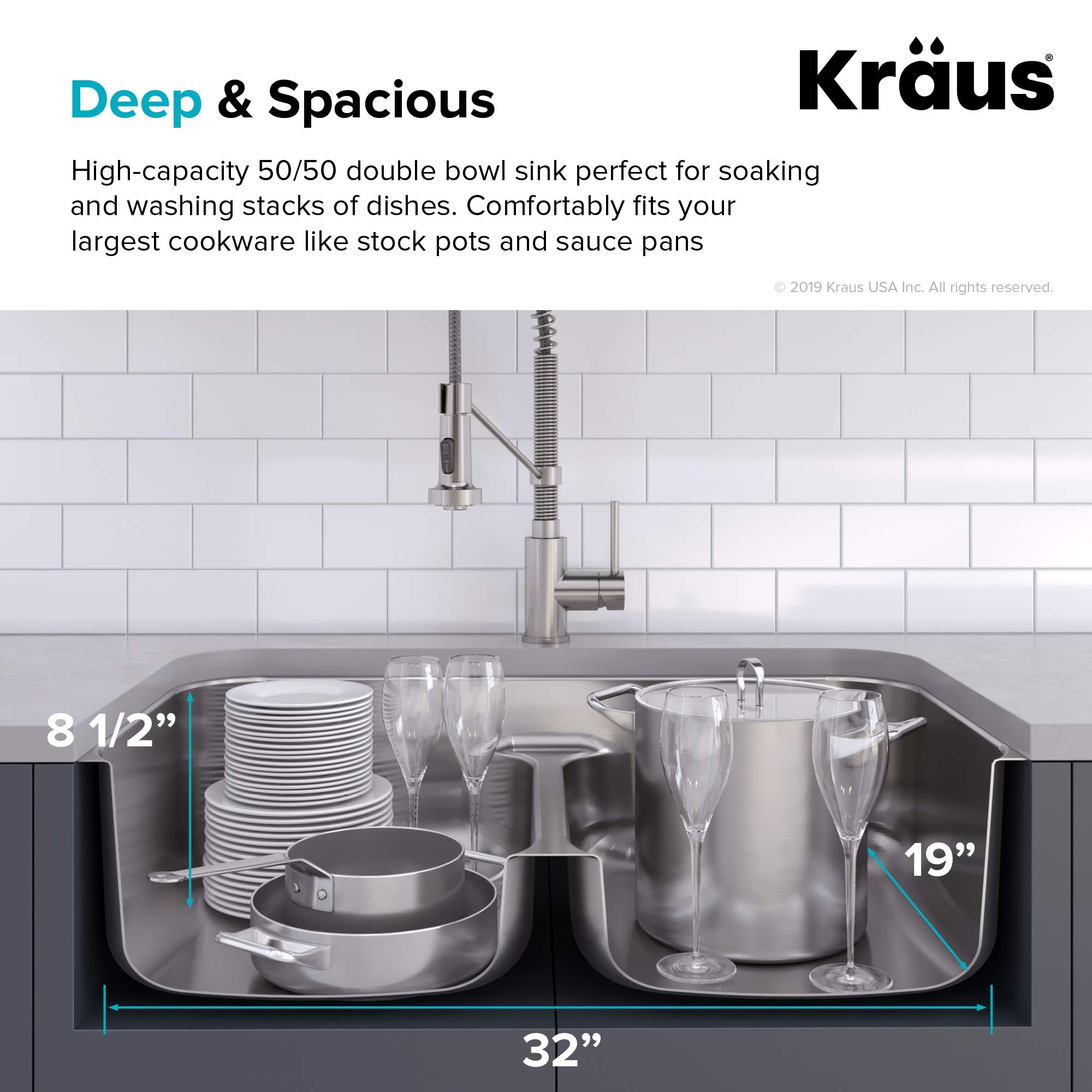 KRAUS KBU32 Premier 32-inch 16 Gauge Undermount 50/50 Double Bowl Kitchen Sink with Smart Low Divider by Kraus (Image #5)