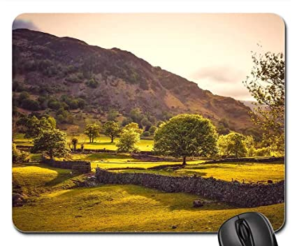 Amazon com : Mouse Pad - England Hills Landscape Stone Wall