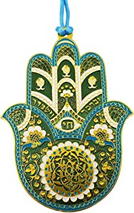 """TALISMAN4U Blue Enamel Gold Plated Hamsa Hand Wall Hanging Home Decor Hebrew Priestly Blessing Evil Eye Protection Gift 4"""""""