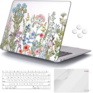 iCasso MacBook Air 13 inch Case 2018-2020 Release A2337M1/A1932/A2179, Hard Shell Case Protective Cover and Keyboard Cover Compatible Newest MacBook Air 13'' with Touch ID - Clear Weeds