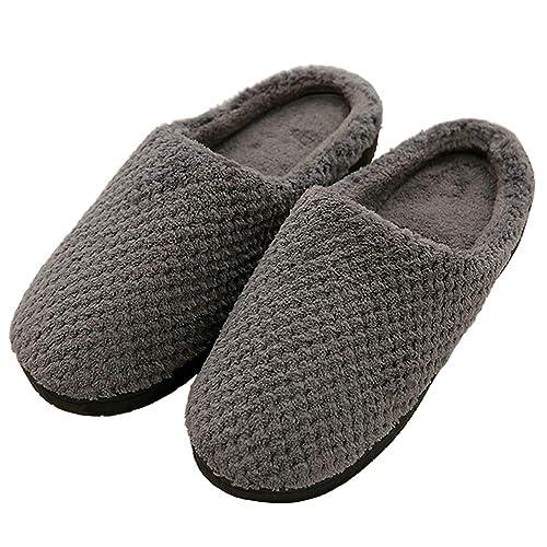 SCIEU Zapatillas de Estar por casa Hombre Ultraligero cómodo y Antideslizante Algodón Forro Natural Zapatillas: Amazon.es: Zapatos y complementos