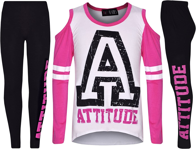 A2Z 4 Kids/® Girls Top Kids Attitude Print Trendy Top /& Fashion Legging Set Age 7 8 9 10 11 12 13 Years