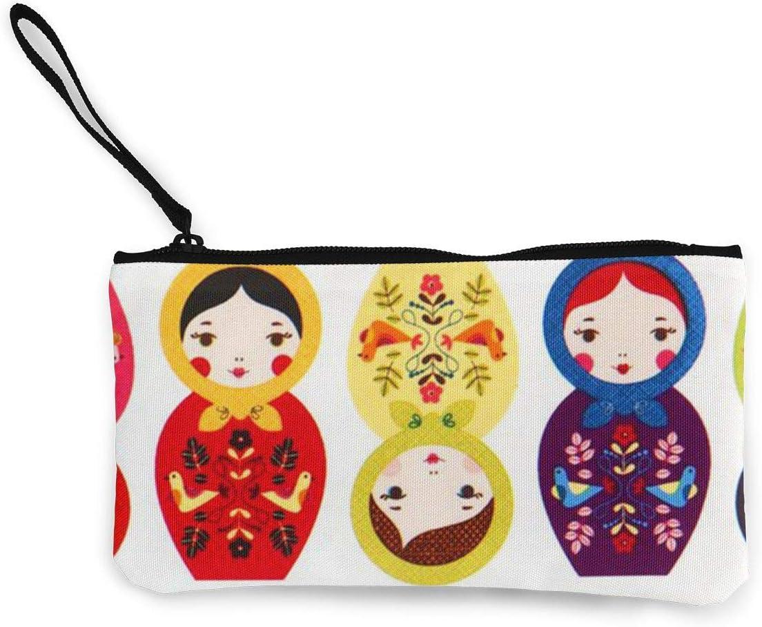 Matryoshka Rusa Nesting Dolls Estuche de lápices de Maquillaje de Viaje con Monedero Brillante con Mango Estuche de lápices de Lona en Efectivo 4.7