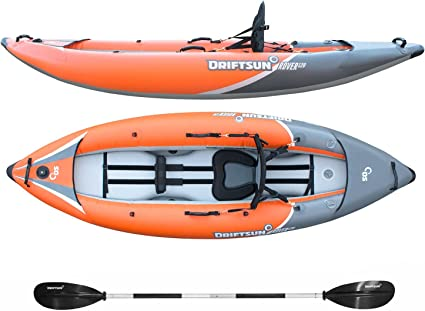 Driftsun Rover 220 Inflatable Tandem White-Water Kayak with High Pressure Floor and EVA Padded Seats with High Back Support, Includes Action Cam ...