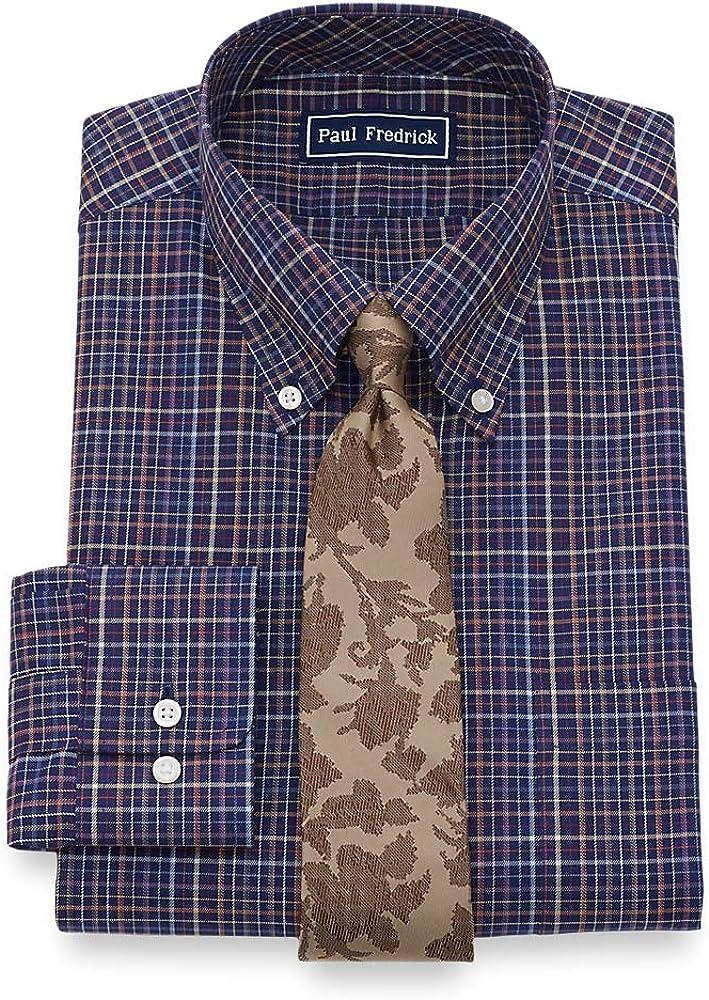 Paul Fredrick Mens Classic Fit Pure Cotton Check Dress Shirt