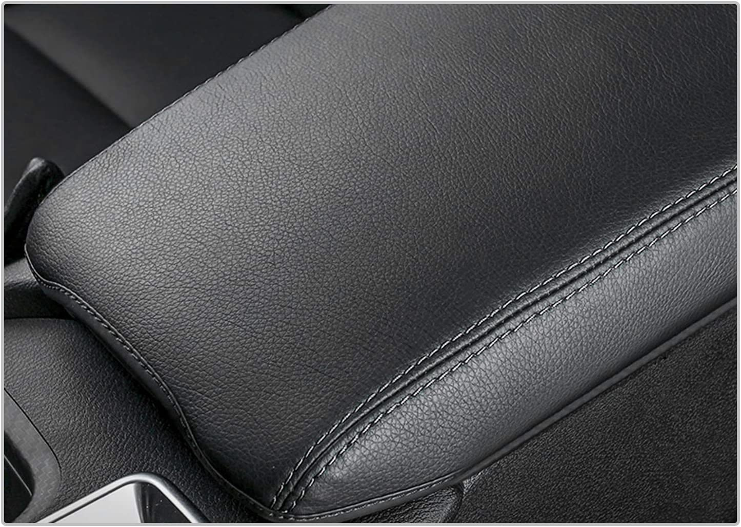 CDEFG Car Center Console Pad for 2020 Sentra Auto Armrest Seat Box Cover Protector Black Leather