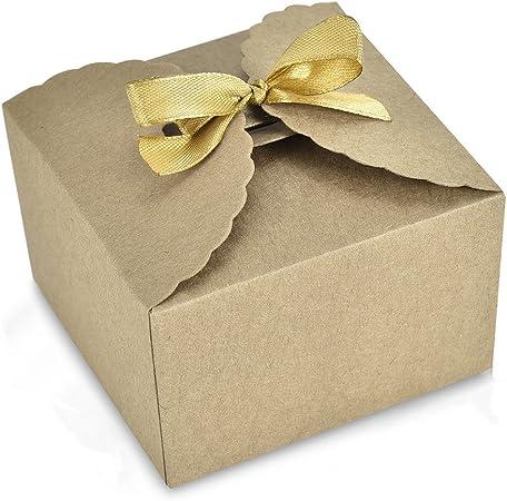 24 cajas de papel kraft para manualidades de Syndecho, caja de regalo para dulces, bolsas para cumpleaños, fiestas, bodas, aniversarios, decoraciones de 9,4 x 9,4 x 6,4 cm marrón: Amazon.es: Hogar