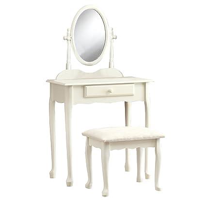 Monarch Specialties I 3412 2 Piece Vanity Set, Antique White - Amazon.com: Monarch Specialties I 3412 2 Piece Vanity Set, Antique
