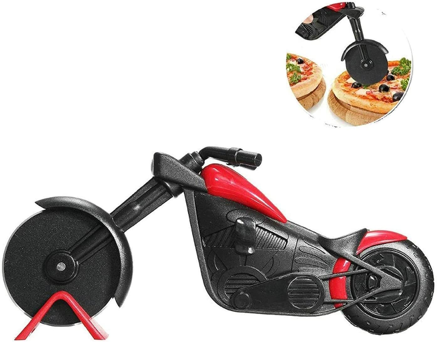 Rueda de Pizza Cortapizzas Black Corta Pizzas Cuchillo de Rodillo de Pizza de Rueda Delantera de Motocicleta Pizza Cutter Cortador de Pizza para Motocicleta