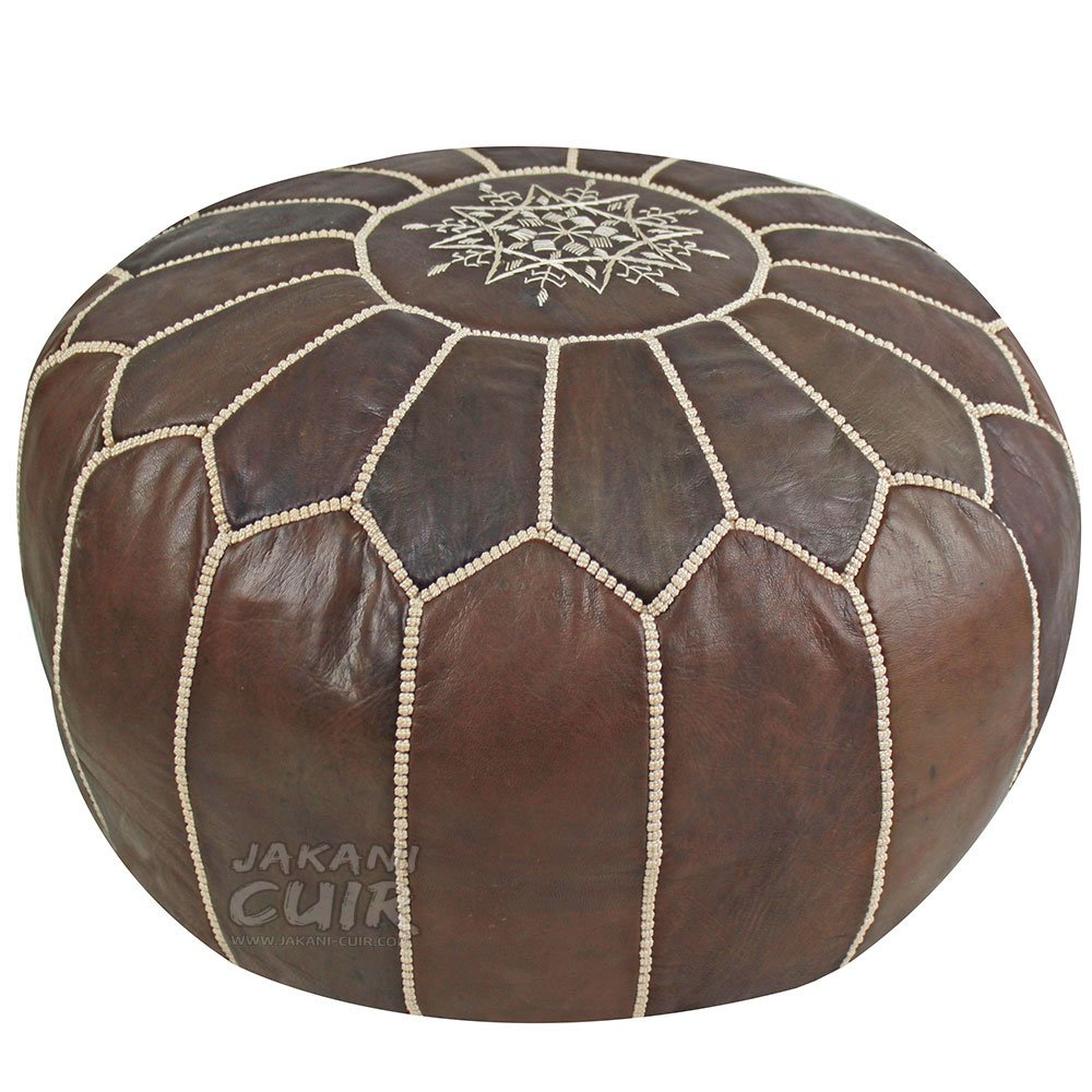JAKANI Cuir Handmade Genuine Leather Moroccan Pouf,Footstool Ottoman, Brown with Beige Stitching, Unstuffed PS3-1