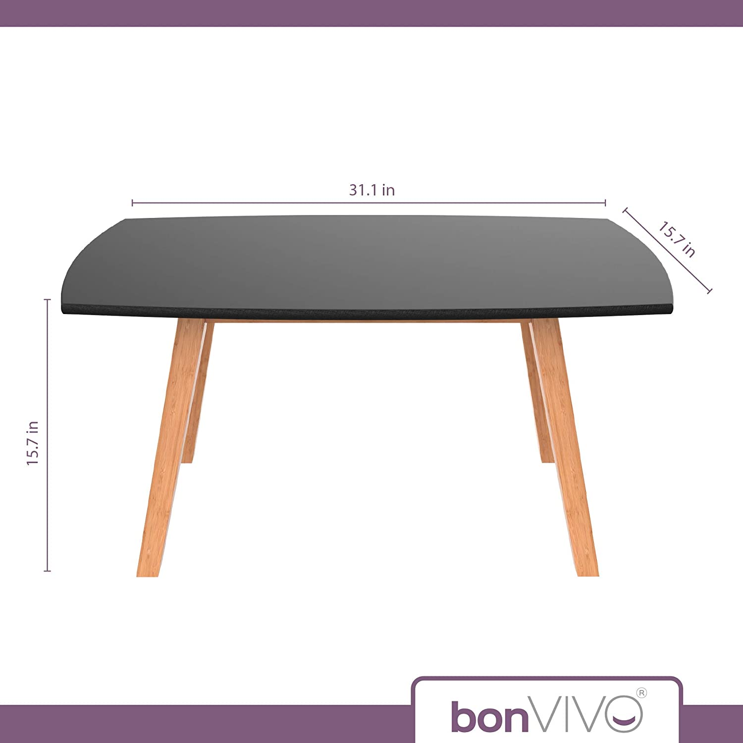 bonVIVO Black Coffee Table Franz - Designer Coffee Tables for Living Room and End Table That can be Used as Side Table, Wooden Coffee Table with Bamboo Frame: Kitchen & Dining
