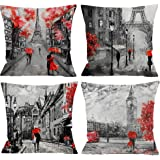 Guhoo 4 Packs Throw Pillow Covers 18 x 18 Inches Black & Red Color Eiffel Tower & Big Ben Pillow Case Decorative Cushion…