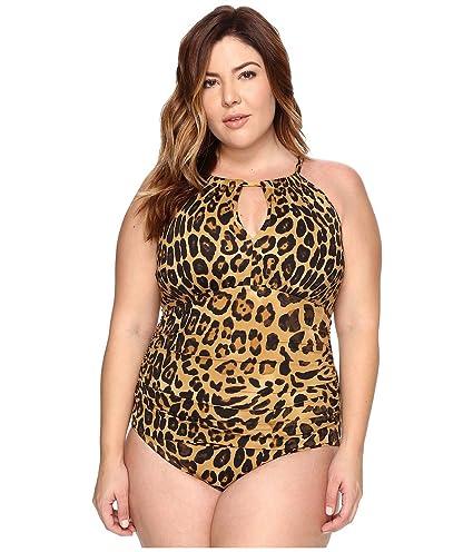 c81c64160f471 Lauren Ralph Lauren Womens Plus Size Leopard Hi Neck Mio One-Piece at  Amazon Women's Clothing store: