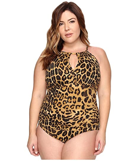 728fbd53fb Lauren Ralph Lauren Women's Plus Size Leopard Hi Neck Mio One-Piece Brown  Swimsuit