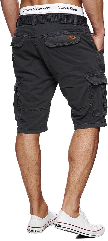Cintura 100/% Cotone Indicode Uomo Monroe Cargo ZA Pantaloncini con 6 Tasche incl Corto Pantalone Bermuda Estate per Uomo Men Pants Cargo Short Pantalone Estivo