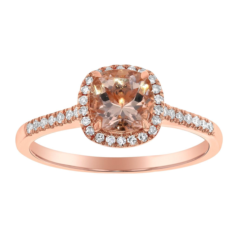 Olivia Paris 14k Rose Gold 1 Carat Tgw Cushion Cut Morganite And Diamond Engagement Ring Hi I1