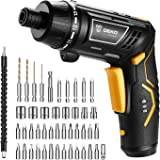 Electric Screwdriver, DEKO Power Screwdriver 3.6V Lithium Ion Battery MAX Torque 4.5N.m, 6 Torque Setting, Front LED and Rear Flashlight Cordless Rechargeable Screwdriver for Home DIY