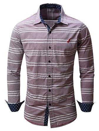 Cokle Men's Slim Fit Casual Plaid Button Down Shirt at Amazon ...