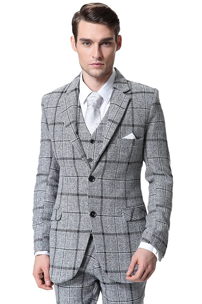 Hanayome Men's 3 Pieces Lattice Business Blazer Suits Separate Vest & Pants D364 D364A01