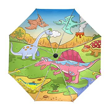 ALAZA Los Dinosaurios Linda de los Niños de Dibujos Animados de Viaje Paraguas de Apertura automática