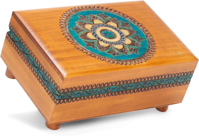Amazon Com Handmade Wooden Brown Puzzle Box With Teal Geometric Designs Polish Linden Wood Keepsake Secret Legs Trick Jewelry Box Toys Games