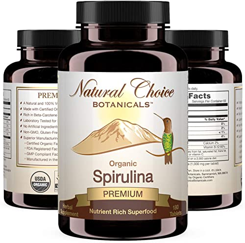 Certified Organic Spirulina, 3000 mg per Serving 1000 mg per Tablet , Supplement – 180 Tablets, 2 Month Supply