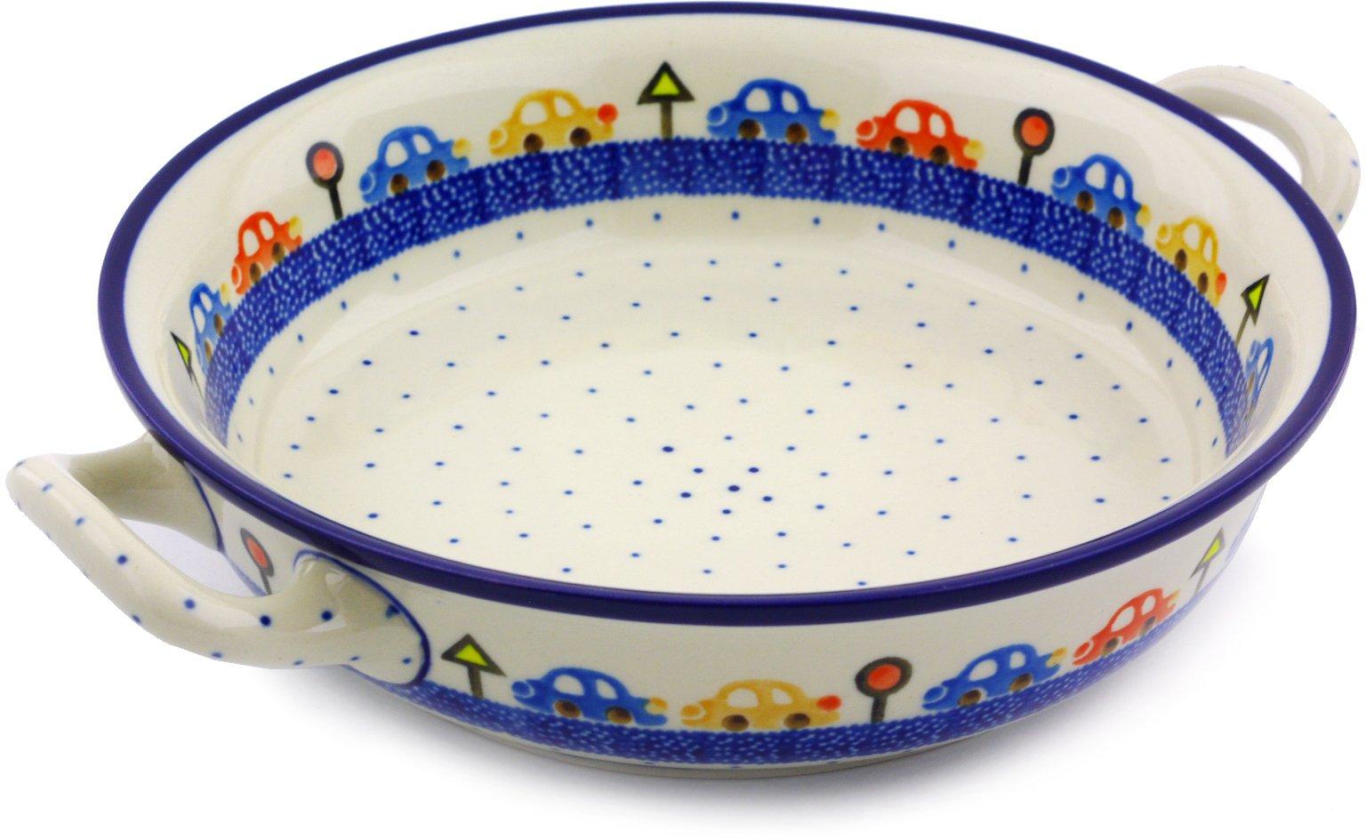 Polish Pottery Round Baker with Handles Medium made by Ceramika Artystyczna (Children's Chasing Cars Theme)