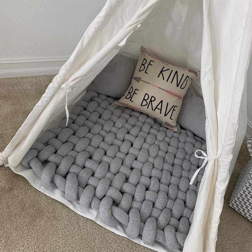 tappeto per attivit/à per bambini Tappeto per dormire in peluche con nodo per bambini tappeto da gioco quadrato in morbido cotone fatto a mano Tappeto per asilo nido Pink