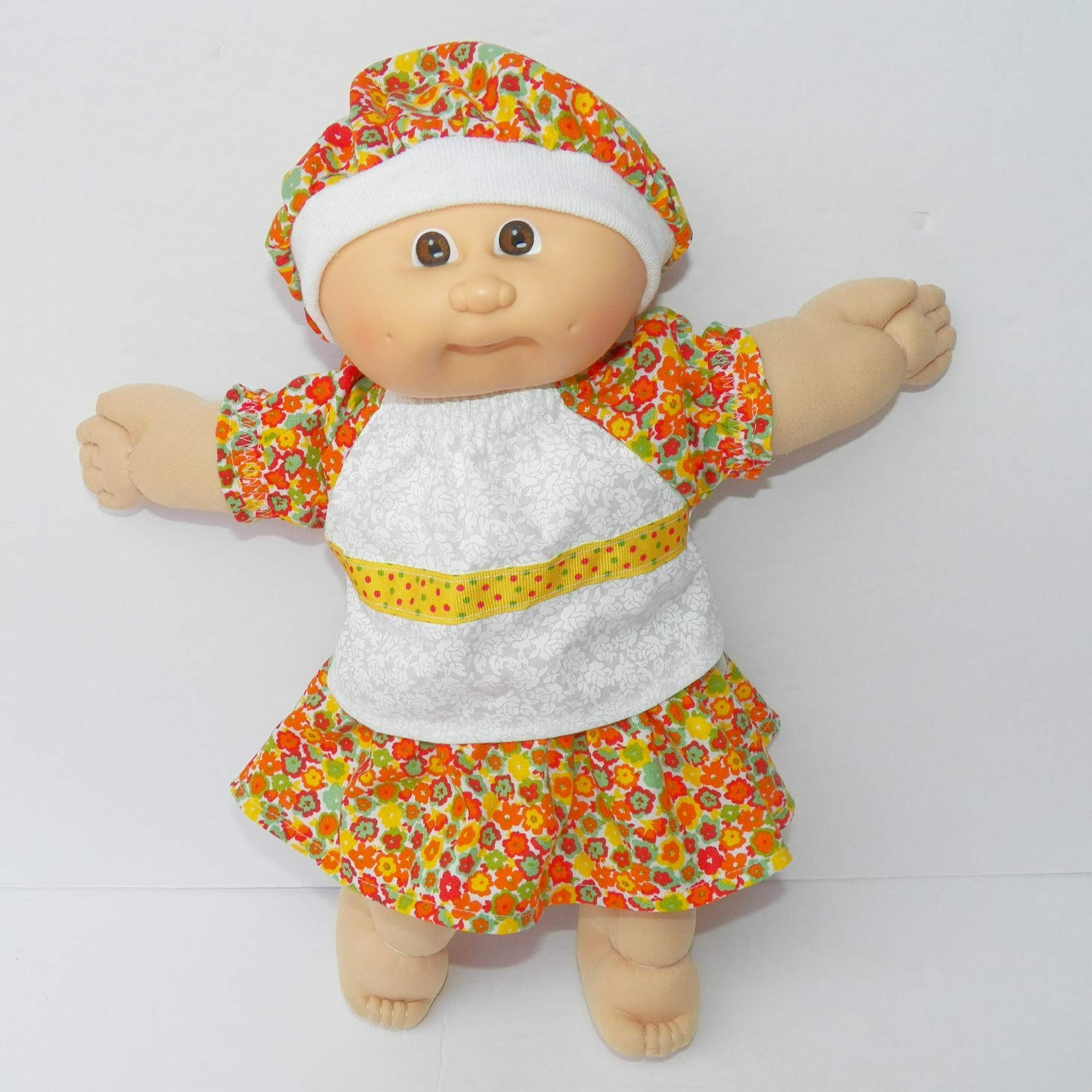 Cabbage Patch Doll Clothes 14 Inch Girl or Preemie Summer Orange Skirt Blouse Hat Clothes Only