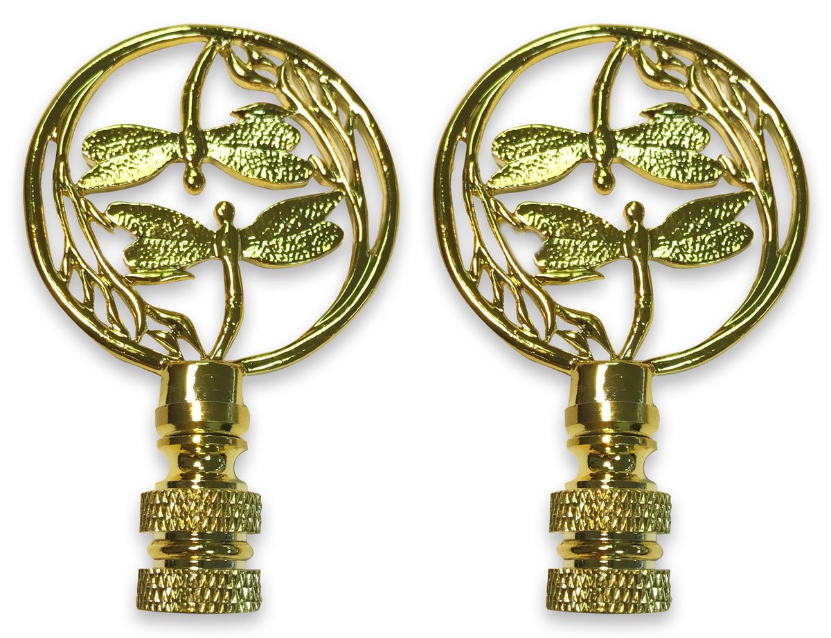 Royal Designs Double Dragon Fly Filigree Lamp Finial for Lamp Shade- Polished Brass Set of 2