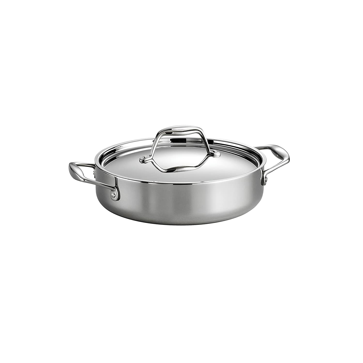 Tramontina 80116/021DS Gourmet Stainless Steel Induction-Ready Tri-Ply Clad Covered Sauce Pan, 1.5-Quart, NSF-Certified, Made in Brazil