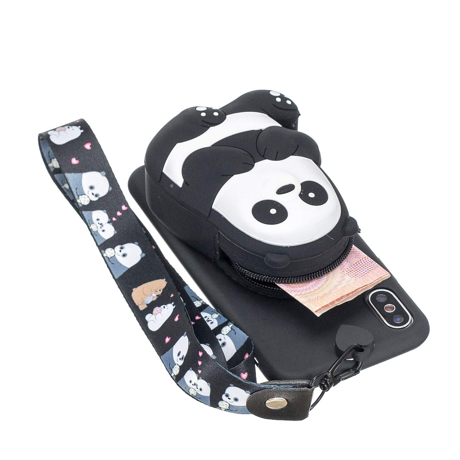 DAMONDY iPhone Xs Cover Case,iPhone X Case,3D Cartoon Cute Pocket Purse Zipper Wallet Stand Holder Cover Soft Silicone Protective Case with Lanyard Strap for iPhone Xs-Black Panda