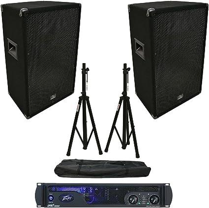 2 Harmony Audio HA-V15P DJ 15 Passive 900W PA Speaker Speakon Cables /& Stands