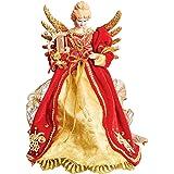 Puntale per albero di Natale a forma di angelo, colore: rosso e oro angelo con arpa, ali in metallo dorato
