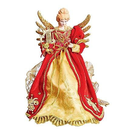 Puntale Albero Di Natale.Puntale Per Albero Di Natale A Forma Di Angelo Angelo Con Arpa Rosso E Oro Ali Di Metallo Dorato