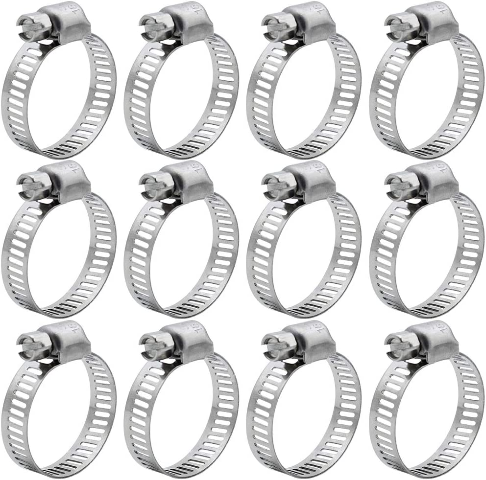 Adjustable Range10-16mm LumenTY 12 pcs Hose Clips Adjustable Pipe Tube Clamps Stainless Steel Worm Drive Hose Clamps for Water Pipe//Home Gas Pipe//Automotive//Mechanical Application