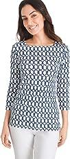 Chico's Women's Supima Cotton Side-Button Bateau-Neck Top