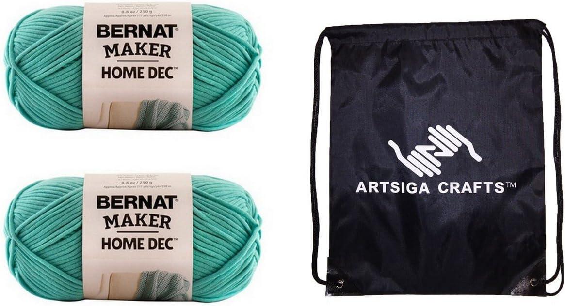 Bernat Knitting Yarn Maker Home Dec Aqua 2-Skein Factory Pack (Same Dyelot) 161211-11005 Bundle with 1 Artsiga Crafts Project Bag