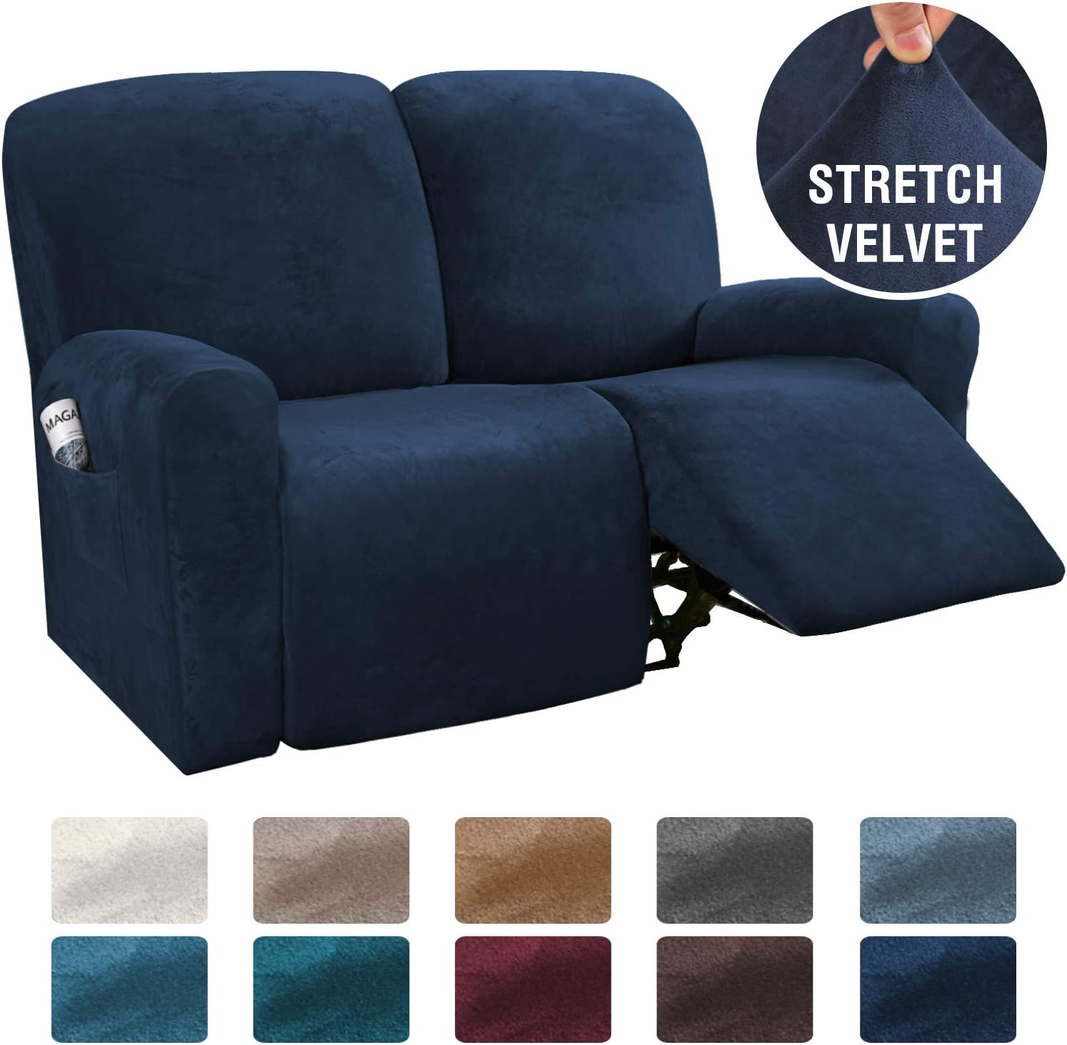 H.VERSAILTEX 6-Pieces Recliner Loveseat Covers Velvet Stretch Reclining Couch Covers for 2 Cushion Sofa Slipcovers Furniture Covers Form Fit Customized Style Thick Soft Washable(Medium, Navy)