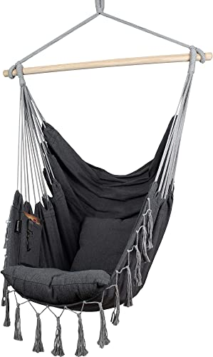 Komorebi Hammock Chair Hanging Rope Swing for Indoor Outdoor Soft Durable Cotton Canvas 2 Cushions Included Large Macrame Hanging Chair with Pocket for Bedroom, Patio, Porch Ivory Black