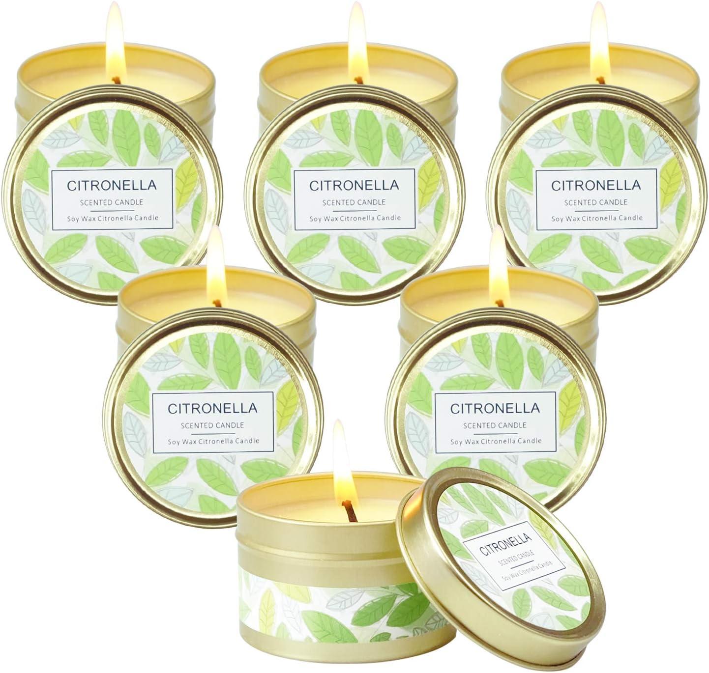 SCENTORINI Velas de Citronela en Lata Antimosquitos Ceras de Hierba con Aroma de limón, 100% de Cera de Soja Aire Libre 95g 15h x 6