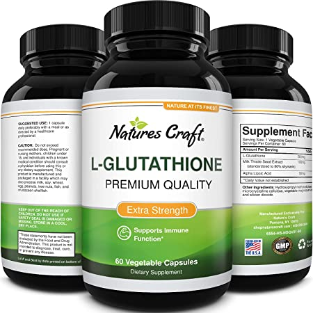 Glutathione Amino Acid Nutritional Supplement - Pure Glutathione Supplements for Liver Support - L Glutathione Pills with Glutamic Acid and Milk Thistle Seed Extract for Anti Aging and Immune Support
