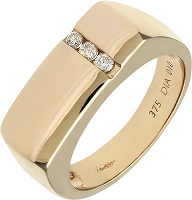 anillo de oro amarillo de 9 quilates para hombre con 3 diamantes