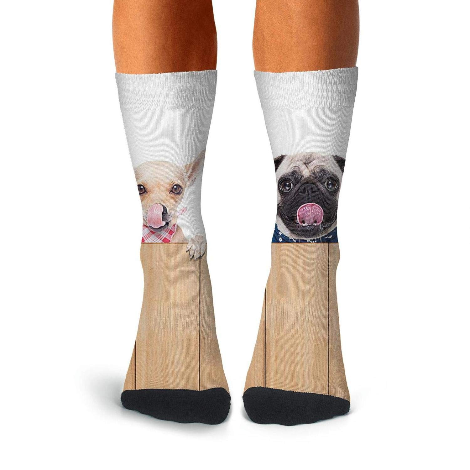 Knee High Long Stockings KCOSSH Hungry Dog On The Fence Crazy Calf Socks Cool Crew Sock For Men