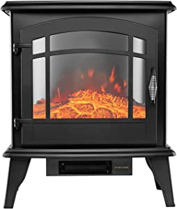 Portable Electric Fireplace Stove- 24-in H Space Heater with Realistic Flame, Traditional Electric Stove, High, Low, Without Heat Control, Safety Cut-Off, Safety Tip-Over Switch, Classic Senio Black