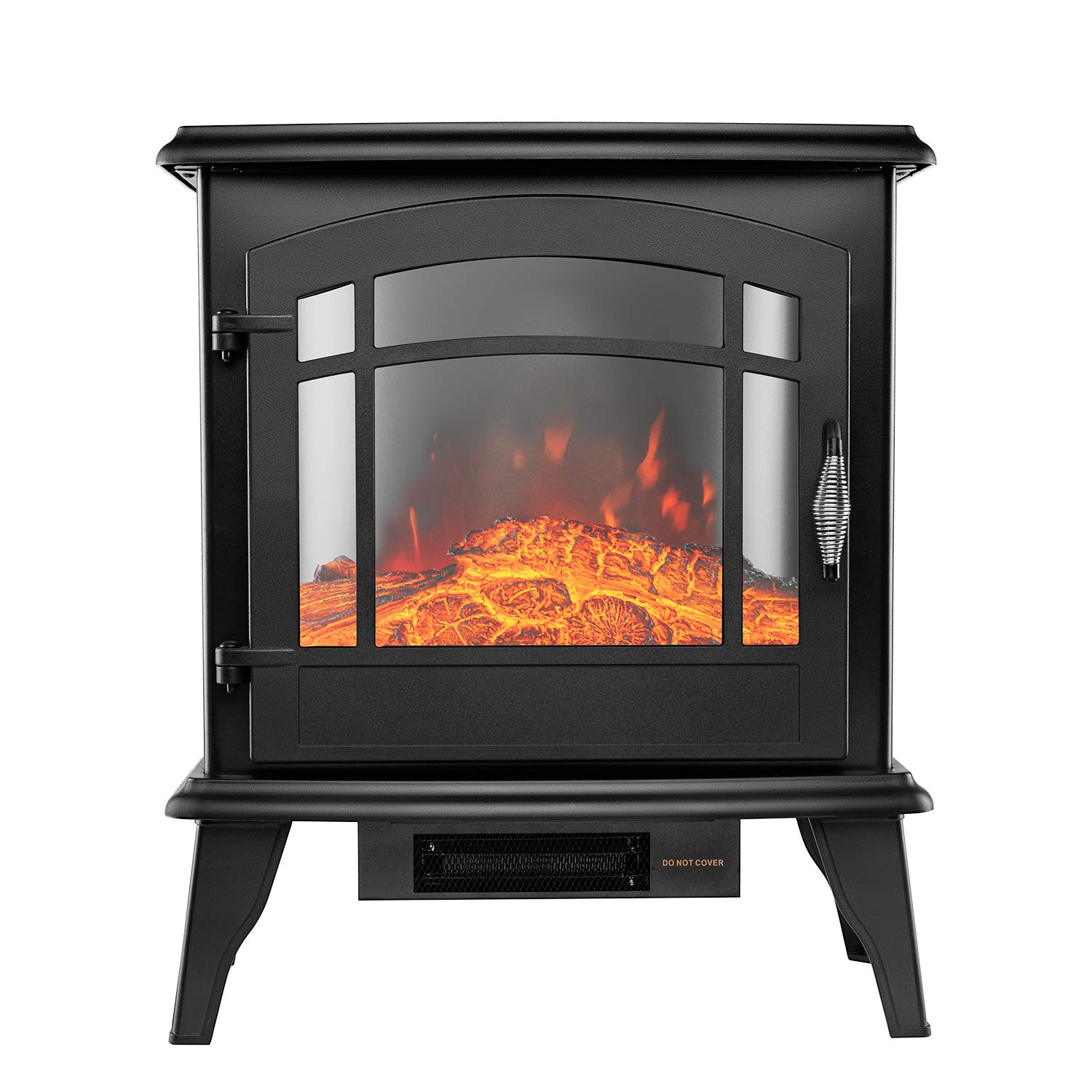 YOUNIS Portable Electric Fireplace Stove- Free Standing Electric Fireplaces, High, Low or Without Heat Control, Safety Cut-Off, Safety Tip-Over Switch, Classic Senior Black by YOUNIS