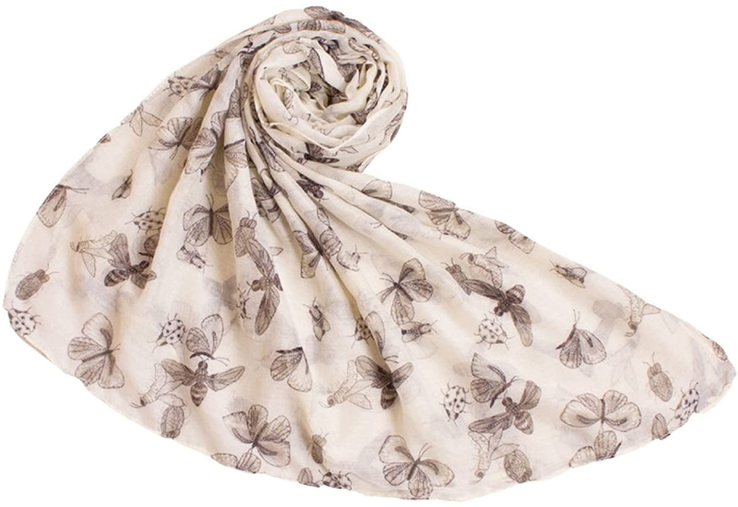 Bettyhome Fashion Girls Insect Pattern Voile Women's Large Beach Scarf Shawl Lightweight