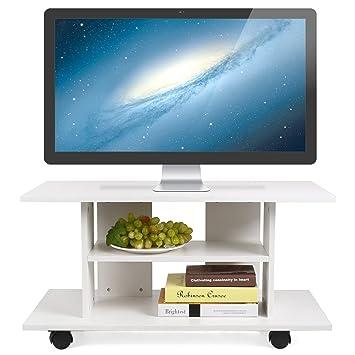 HOMFA Mueble tv móvil Mueble de comedor tv moderno mesa para tv con 4 ruedas 80*40*40cm (Blanco): Amazon.es: Hogar