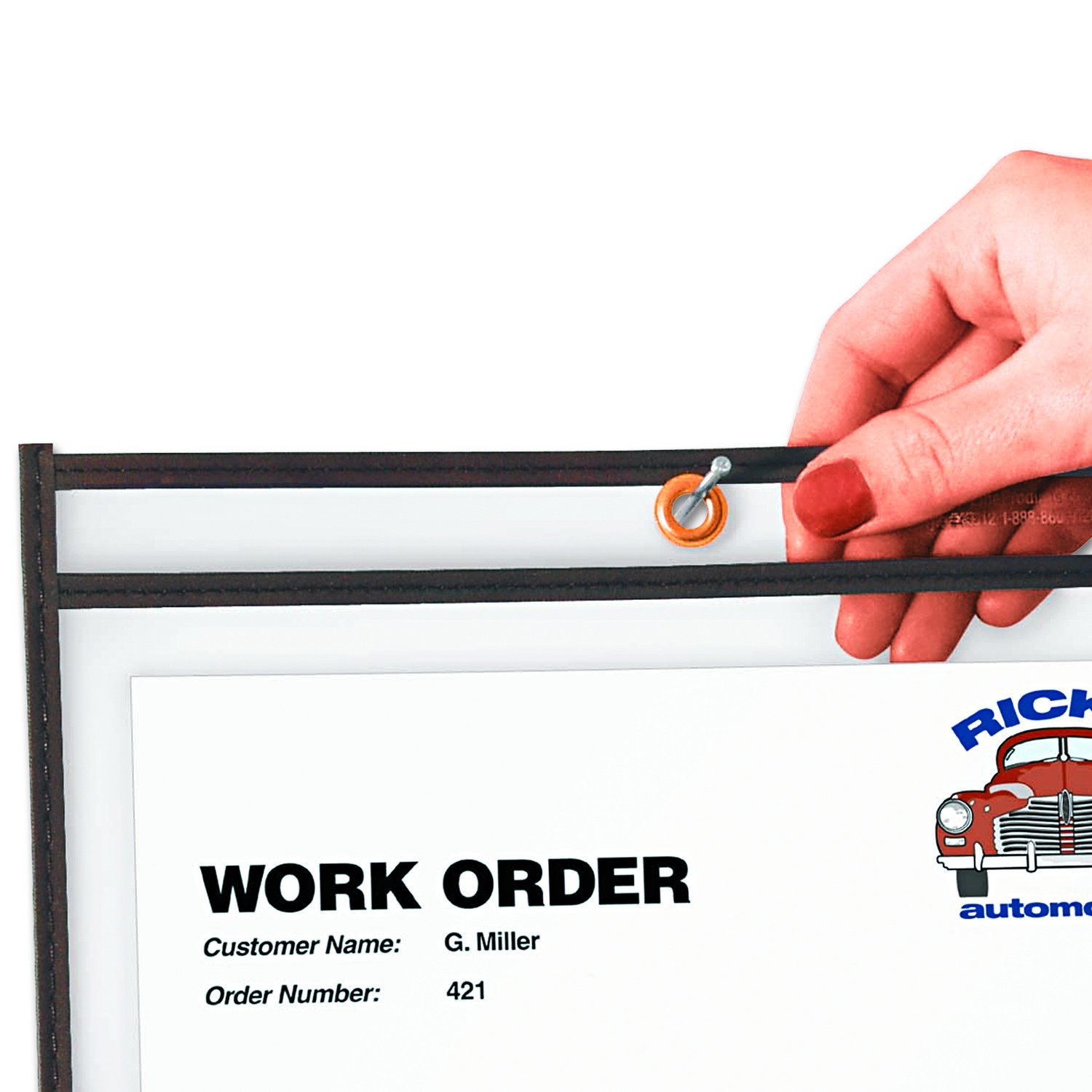 46158 Stitched 15 x 18 Inches 25-Count Box C-Line Shop Ticket Holders Both Sides Clear Black Trim